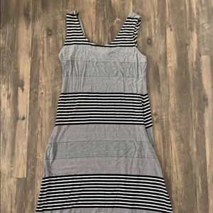 Black and white striped maxi dress, size L